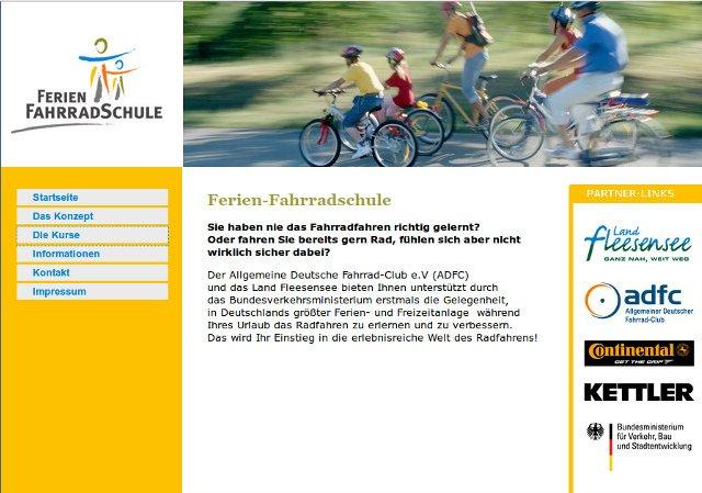 Screenshot Ferien-Fahrradschule Land Fleesensee