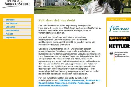 Screenshot: Homepage Ferien-Fahrradschule