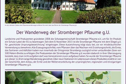 Abbildung: Beschilderungstafel des Pflaumenwanderweges in Stromberg
