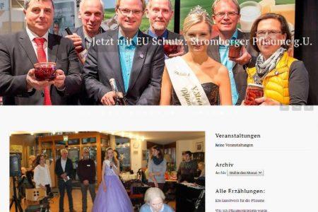 Screenshot der Homepage für die Stromberger Pflaume g. U.