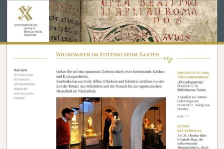 Screenshot: Website StiftsMuseum Xanten